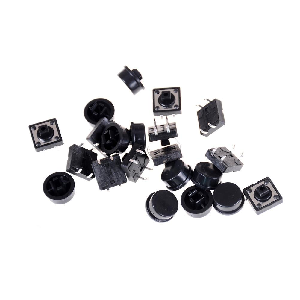 10pcs Momentary Tact Tactile Push Button Switch 12x12x12mm 4 Pin w Cap