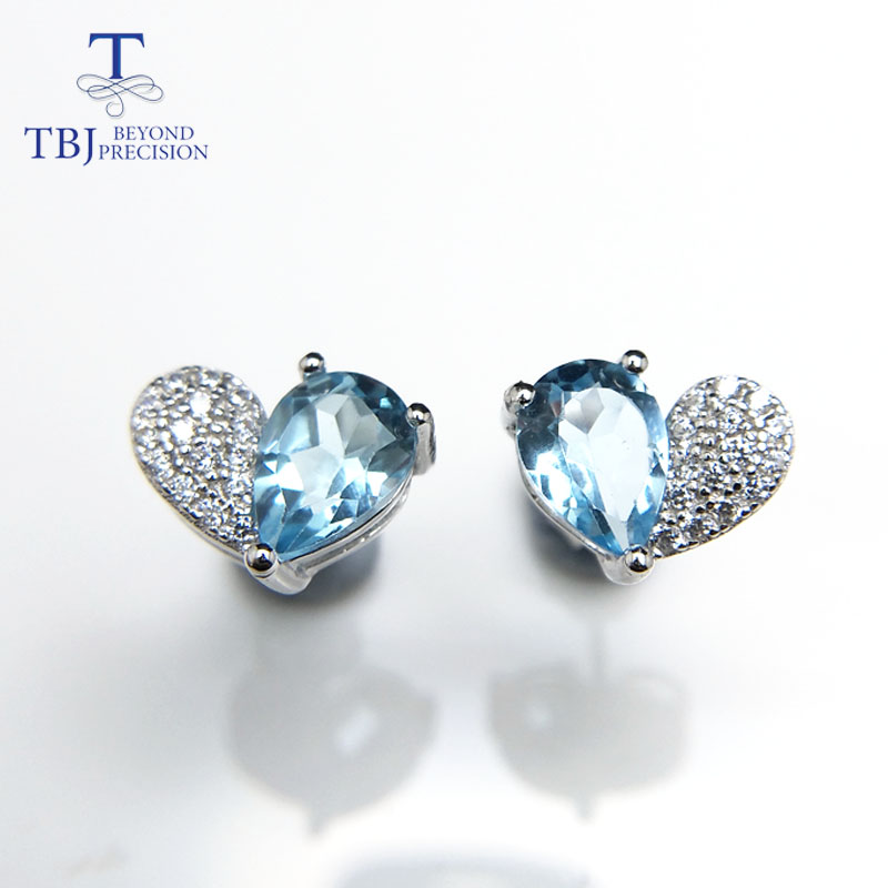 Natural Gemstone Earring For Women As Valentines Gift Beneficial To The Sperm Special Section Tbj,romantic 925 Silver Earring With 1.5ct Natural Sky Blue Topaz Pe5*7 Jewelry & Accessories