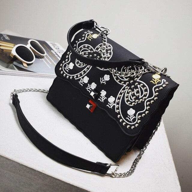 Женская печати сумки небольшой все матч многослойная мешок тенденции моды заклепки плеча сумку r-89585