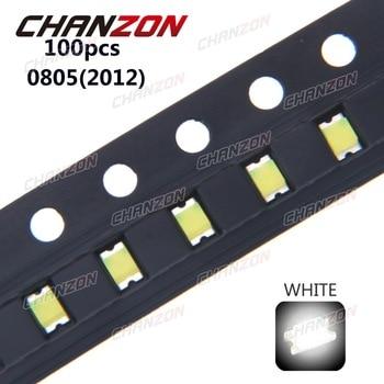 100pcs 0805 (2012) SMD White LED Chip Surface Mount SMT Beads Ultra Bright Light Emitting Diode LED Lamp Electronics Components