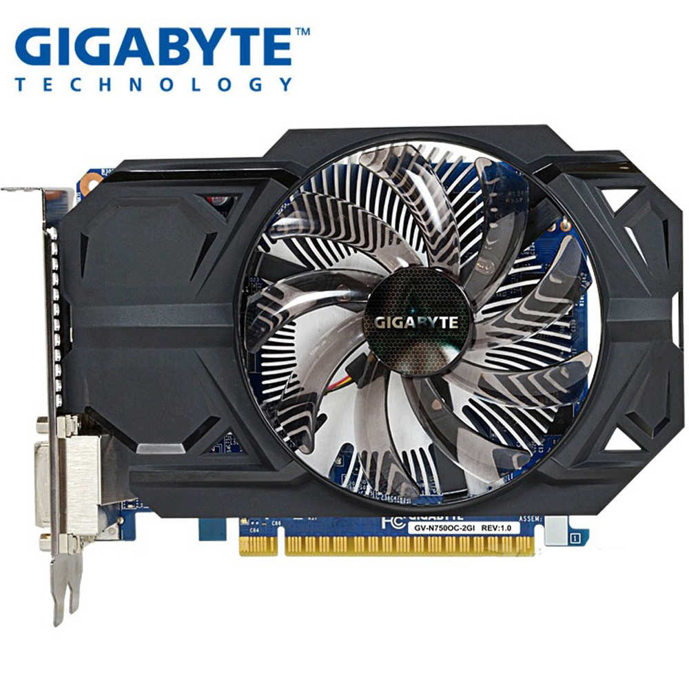 GIGABYTE Graphics Card GTX 750 2GB 128Bit GDDR5 Video Cards for nVIDIA Geforce GTX750 Hdmi Dvi Used VGA Cards On Sale