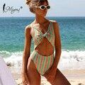 Miyouj Floral Badeanzug Bogen Sexy Backless Bademode Aushöhlen Streifen Badeanzug Frauen Print Bandage Monokini Biquini-in Body Suits aus Sport und Unterhaltung bei