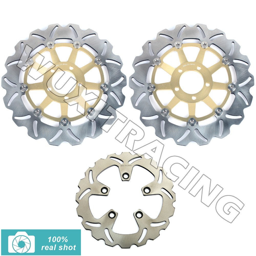 Front Rear Brake Discs Disks Rotors fit for Kawasaki ZXR NINJA 750 ZX750H H1 H2 89 90 91 92 93 94 95 310mm 230mm New GOLD 94 95 96 97 98 99 00 01 02 03 04 05 06 new 300mm front 280mm rear brake discs disks rotor fit for kawasaki gtr 1000 zg1000