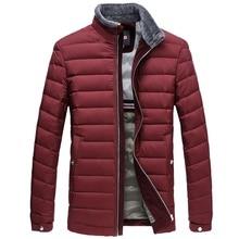 Men's White Duck Down Jacket Slim Light Wool Collar