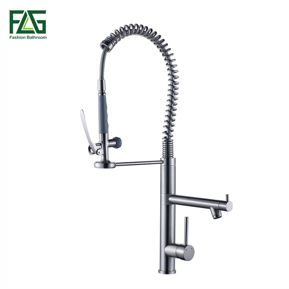 FLG Spring Style Kitchen Faucet Brushed Nickel Faucet 360 Degree Rotating Kitchen Tap Brass Single Lever Deck Mounted Taps 3582N free shipping brushed nickel kitchen faucet brass swivel kitchen sinks faucet 360 degree rotating kitchen mixer tap gyd 7119
