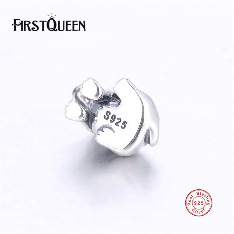 FirstQueen 100% Pure Silver 925 European Beads Dog Charm Fits For Most Popular Bracelets Fine Jewelry