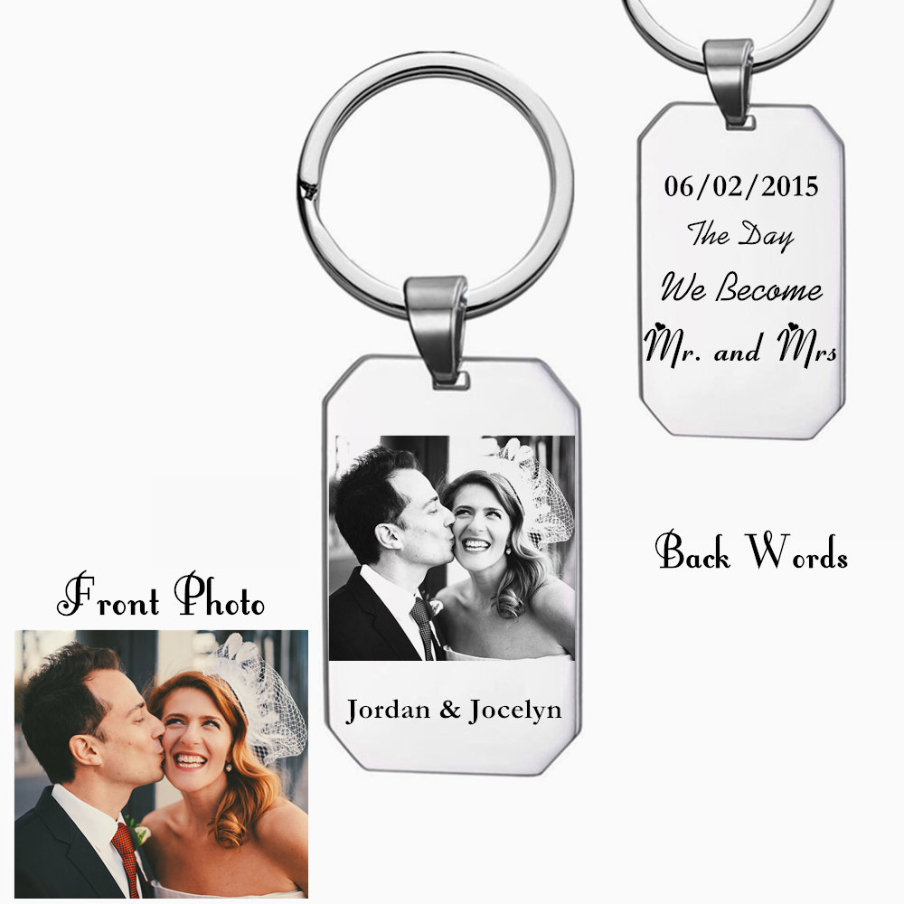 Personalised Engraved Keyring-Wedding anniversary Keychain-Custom Date-On this day - Wedding day -Anniversary Date-Save the date