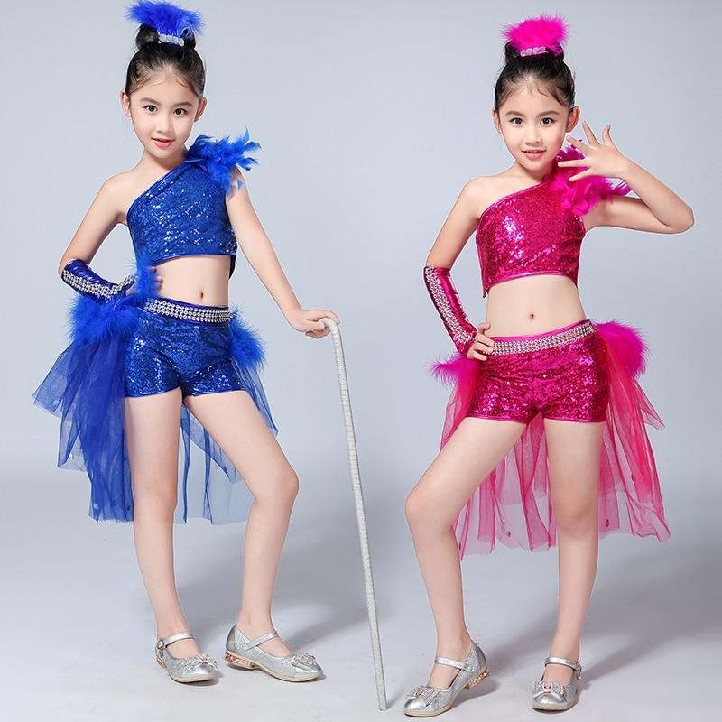 Songyuexia Children Mordern Dance Costumes Kids Jazz Danza Stage Catwalk Wearing Sequins Girls Costumes Girl Modern Fancywork