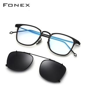 Image 3 - Fonex armação de titânio puro, unissex, polarizado, óculos de sol feminino, quadrado, ótico 503