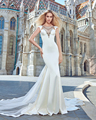 Luxo Princesa Cordas Bling Frisada Em Tulle Mermail Abrir Voltar Watteau Train Vestido De Noiva Linda Fantasia Mergulhando Plus Size