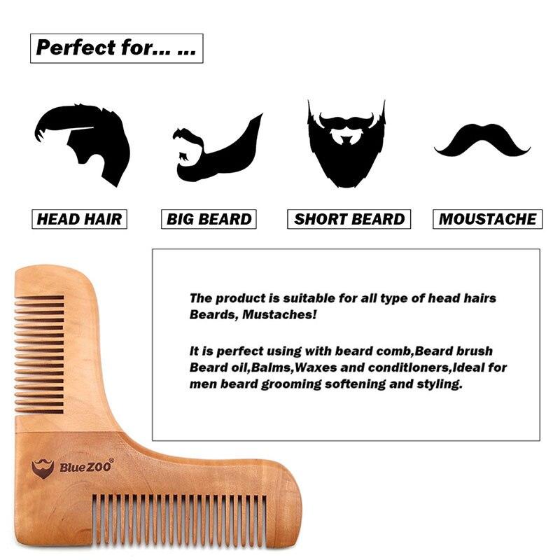 Купить с кэшбэком Double Gentlemen Beard Comb Wooden Shaping Template Beard Shaping Comb for Men Men Shaving Comb Tools