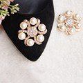 1 Piece Shoes Decoration Flower Clip Inserting Buckle Rhinestones Crystal Pearl Women Decorative Accessories Insert Bead Fitting