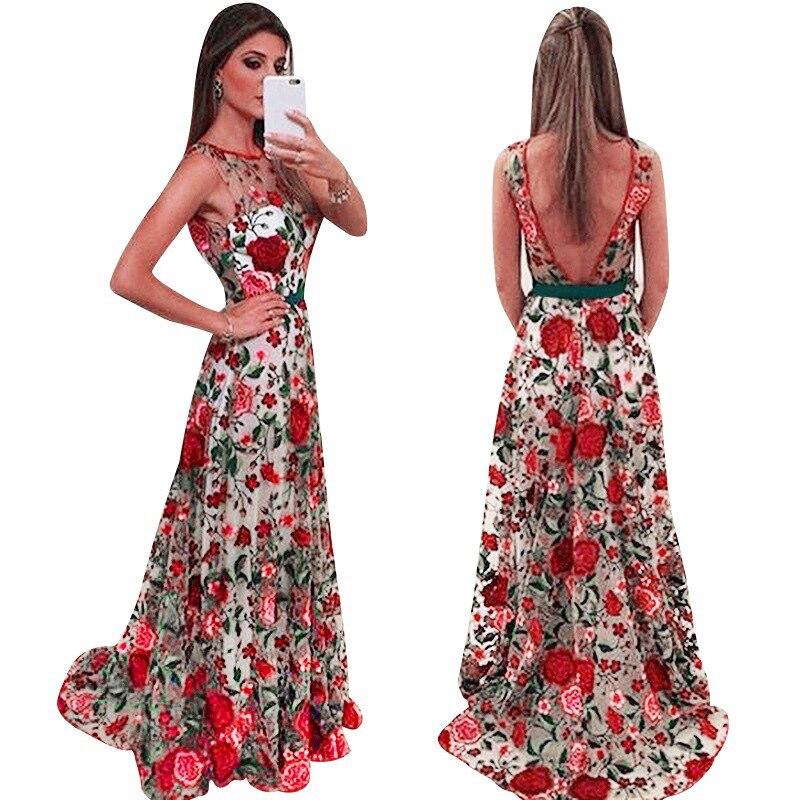 Red flower embroidered long maxi dress Women back v embroidery mesh dresses Elegant sleeveless ladies party dress Robe vestidos