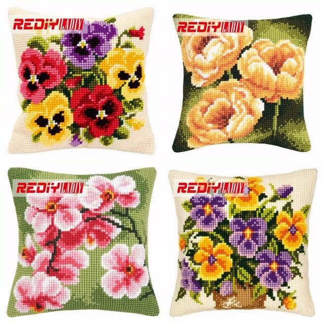 REDIY LADIY Cross Stitch Cushion Cover Sofa Decorative Pillow Case Extraordinary How To Make A Decorative Pillow Case