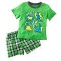 Зеленый дино мальчики одежда костюмы динозавров дети футболки шорты брюки установить животных мальчик сетки брюки 3-5лет
