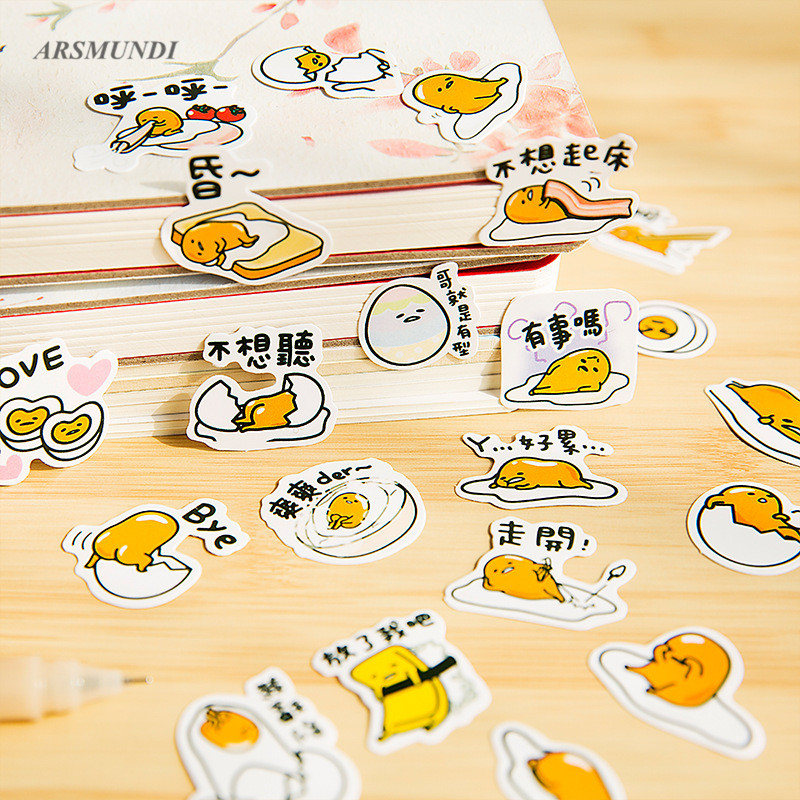 Cute Sanrio Gudetama Lazy Egg Stickers Diary Stickers Scrapbooking Decoration PVC Stationery DIY Cute Stickers School Supply spring and fall leaves shape pvc environmental stickers decorative diy scrapbooking keyboard personal diary stationery stickers