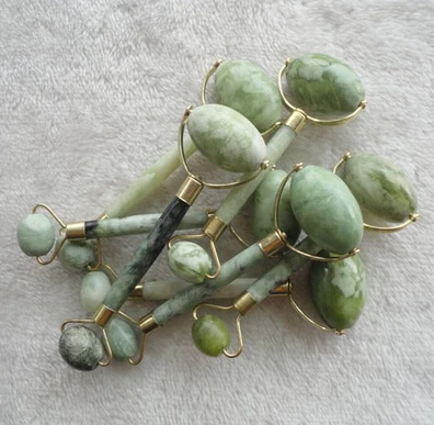 large natural green jade massage roller