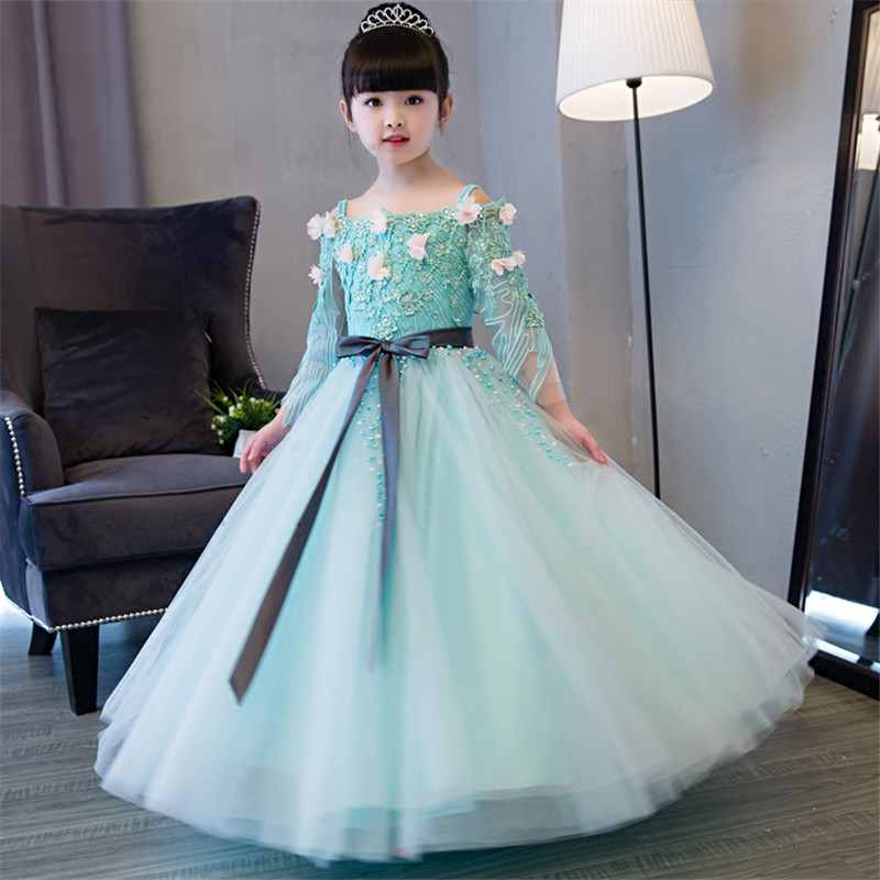 2018Autumn New Luxury Children Girls Birthday Wedding Party Princess Long Dress Kids Teens Shoulderless Host Piano Costume Dress2018Autumn New Luxury Children Girls Birthday Wedding Party Princess Long Dress Kids Teens Shoulderless Host Piano Costume Dress
