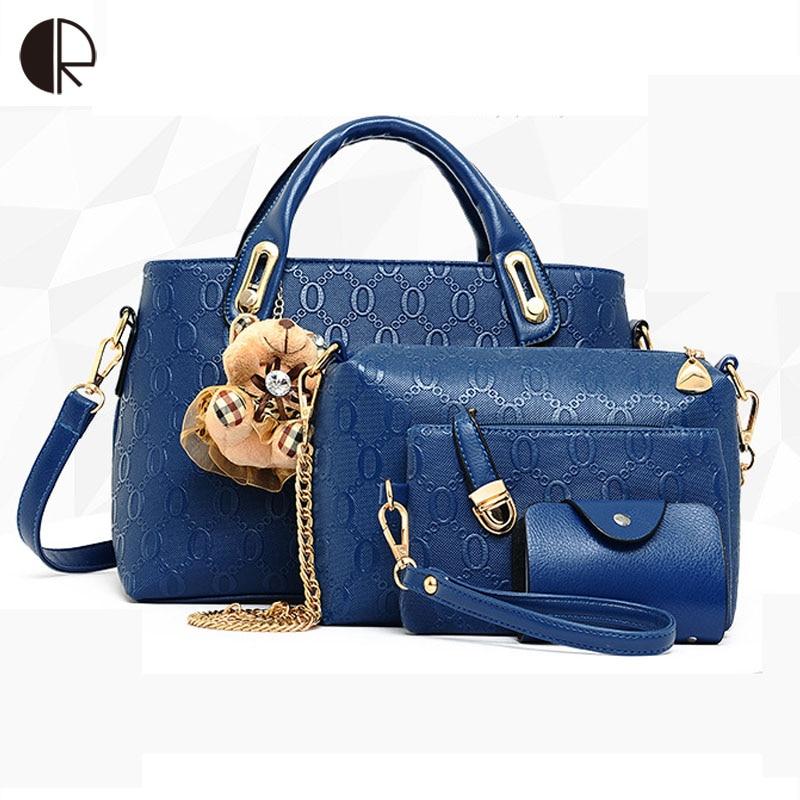 Leatherwomen Tracolla Top Pu Di 2016 Della beige Donne Modo Borsa Borse Black pink Set Bag A blue handle 8nqpO
