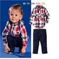 2017 otoño niño ropa de la tela escocesa de la camiseta + pantalones casuales niño traje ropa de los niños al por menor 2 unidades de a conjunto yaz032f