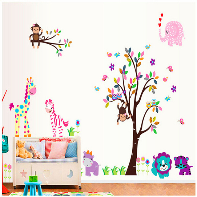 Cartoon Kindergarten Bedroom Decorate Children Room Wall Stickers For Kids  Rooms Vinyl Wall Decorative Stickers Mural Part 65