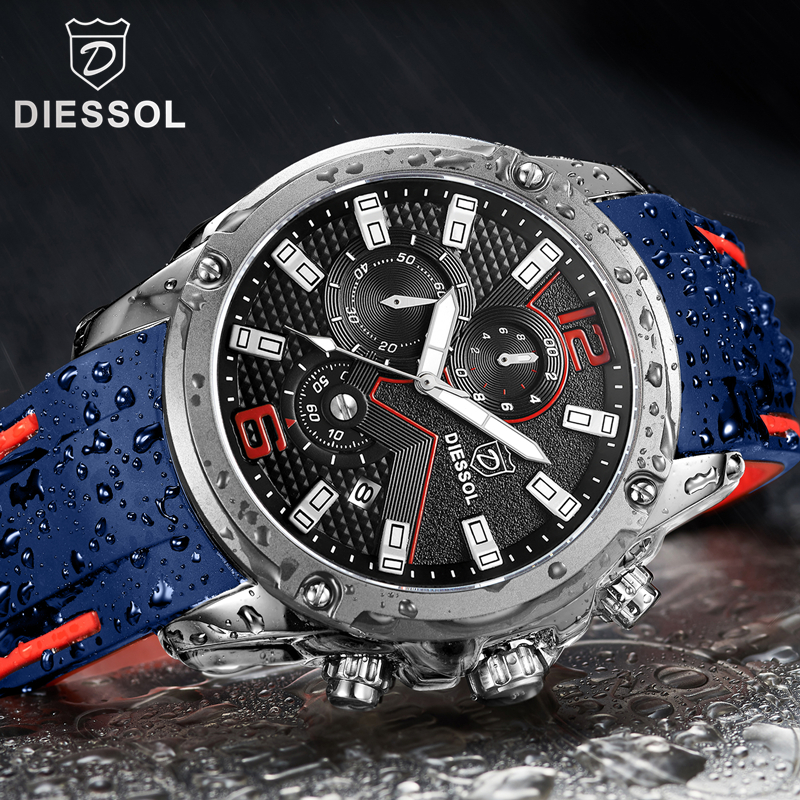 DIESSOL Mens Fashion Sport Quartz Watch Rubber Band Mens Watches Top Brand Luxury Waterproof Business Watch Relogio MasculinoDIESSOL Mens Fashion Sport Quartz Watch Rubber Band Mens Watches Top Brand Luxury Waterproof Business Watch Relogio Masculino