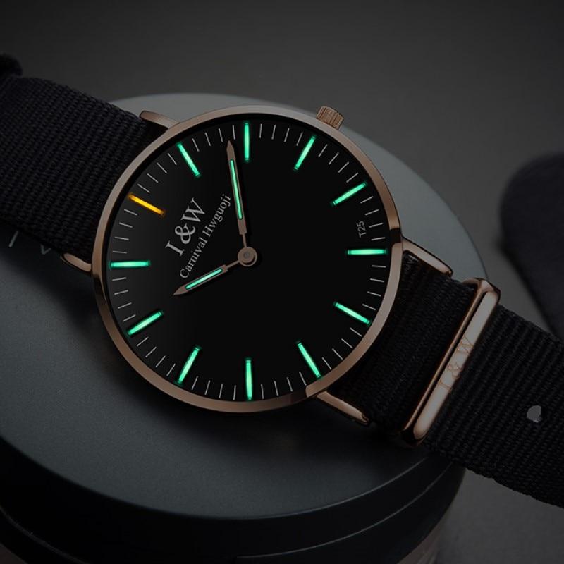 Mode Ultra-Mince tritium montre lumineuse Hommes Top Marque CARNAVAL montres à quartz Importés mouvement bande en nylon Saphir cristal verre