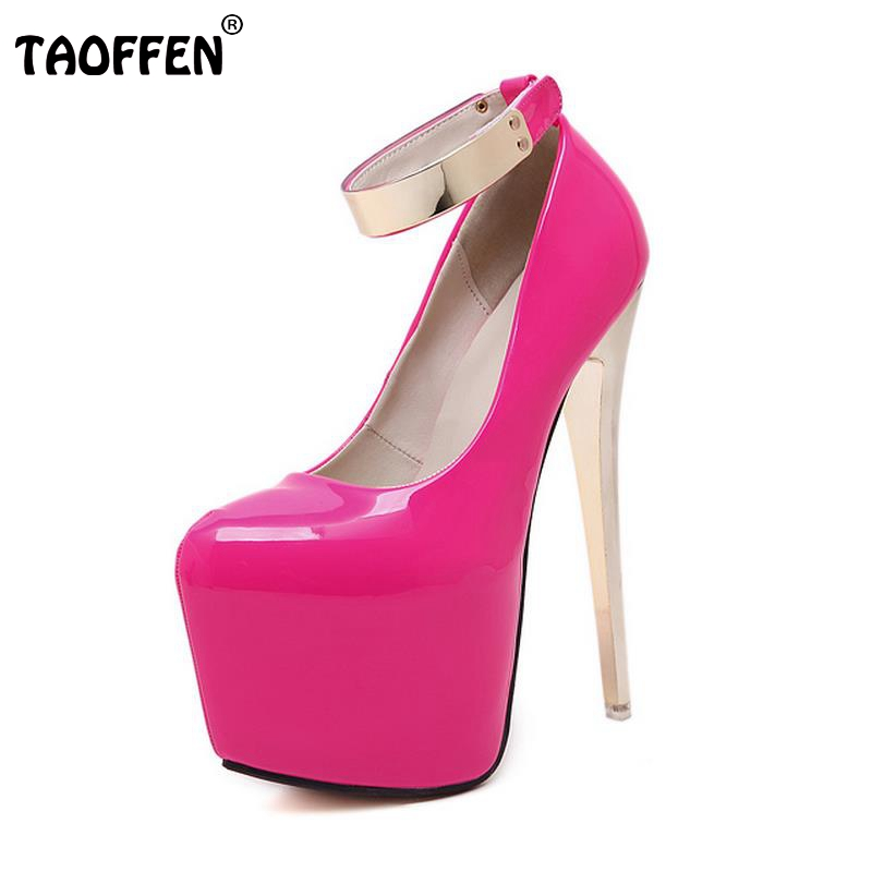 ФОТО Women Shoes Women Pumps High Heeled Shoes Platform Thin Heels Patent Leather Ankle Wrap Footwear Metal Decoration Size 34-40
