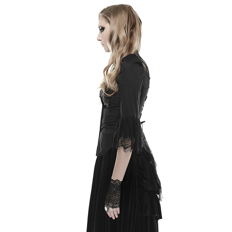 Textile Punk Tissu Dernière Combinaison Haut Conception Femme Col Dentelle Chemises Gothique Doux YFpqAaw