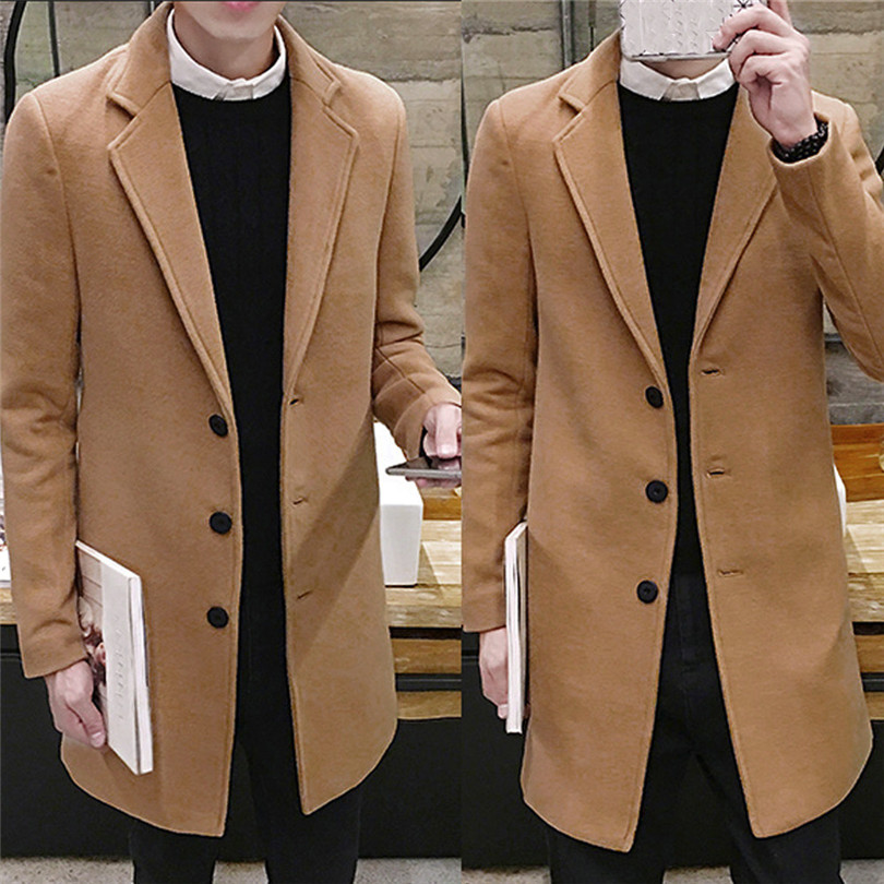 fashion Men Autumn Winter Formal Single Breasted Figuring Overcoat Daily casual Long Wool Jacket Outwear Top #4M25 (11)