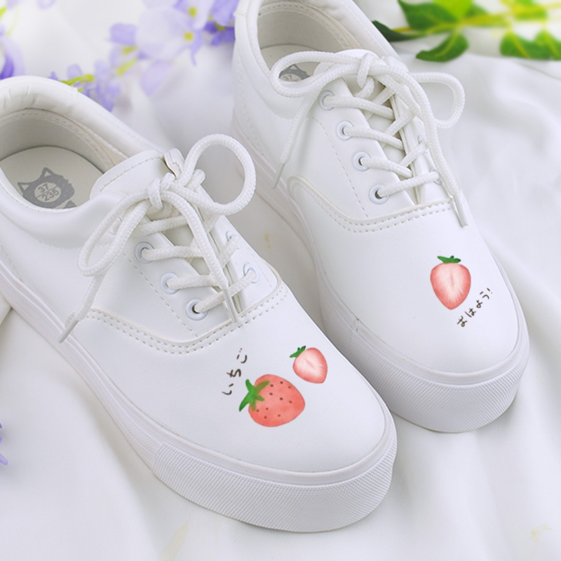 Sweet Fruit Hand Painted Shoes Women's White Shoes 2018 Autumn Lace up Platform Sneakers Ladies Trainers полотенце вафельное беатрис 50х70