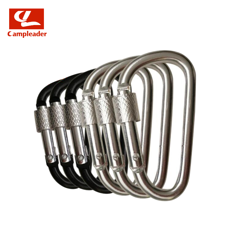 10pcs 5# D-type Aluminum Alloy Carabiner Outdoor Security Keychain Black Silver Lock Buckle Carabiner Quickdraws CL282