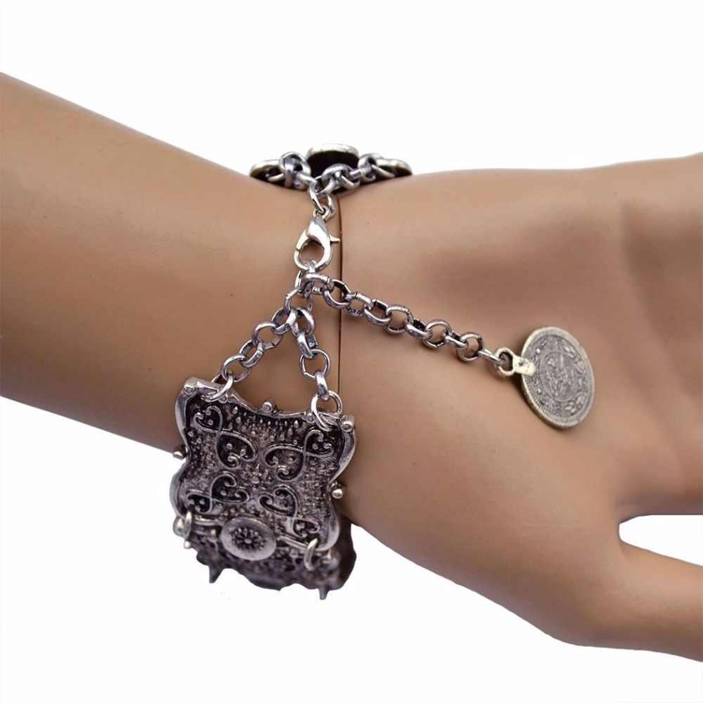 שבטי אתני תכשיטי בוהמי אנטליה מטבע צמיד הצהרת הצועני Boho Coachella צמיד פסטיבל נשים גברים תכשיטים תורכי