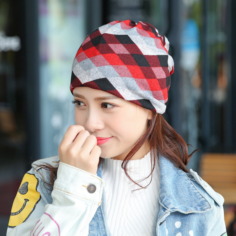 (CC.AMILY) Fashion knitting Lattice Printing Women Ladies Multifunction Cap Winter Casual Hat Skullies Beanies FS0398