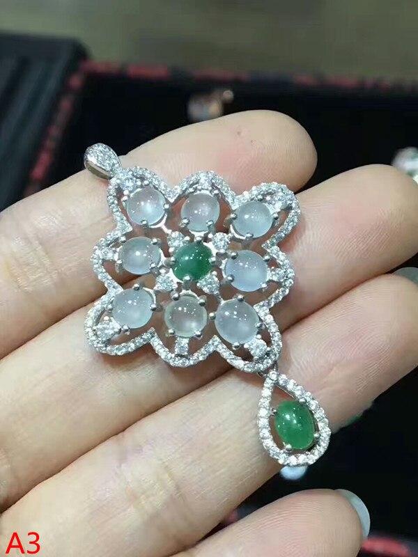 KJJEAXCMY boutique jewelry 925 Sterling Silver Mosaic Jade Pendant + necklace jewellery kjjeaxcmy boutique jewelry 925 pure silver mosaic jade jadeite pendant necklace support test