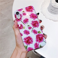 100PCS Soft TPU IMD Flower Plants Phone Case For iphone 6S Case For iphone X XS MAX XR 6 7 8 Back Cover Colorful Flowers Case
