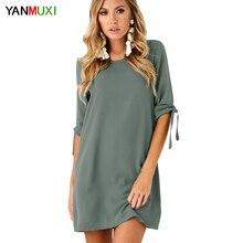 Yanmuxi серый осеннее платье круглый Средства ухода за кожей шеи с длинным рукавом, легкое Струящееся платье осень 2017 Повседневное партии Женское платье