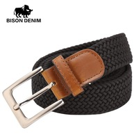 BISON DENIM Women Men Male Thicken Canvas Belt Military Tactical Strap Knitted Jeans Casual Pant Woven