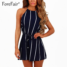 531cc603d85 Forefair Sexy Sleeveless Sash Tie Up Summer Rompers Women Jumpsuit Ladies  Navy Blue Vertical Striped Playsuits Femme Overalls