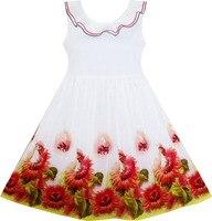 Girls Dress Sunflower Garden Turn Down Collar Sleeveless 2018 Summer Princess Wedding Party Dresses Children Clothes