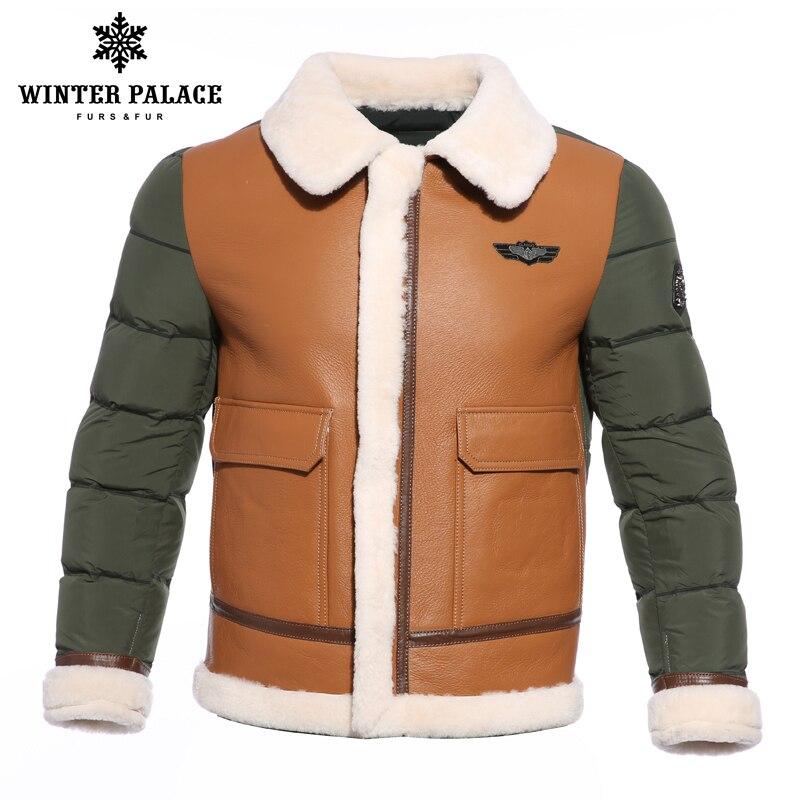 2018 Terno gola homens jaqueta de inverno Multicolor Marcas homens jaqueta de pato para baixo casaco de pele de carneiro estilo Jovem mens jaquetas