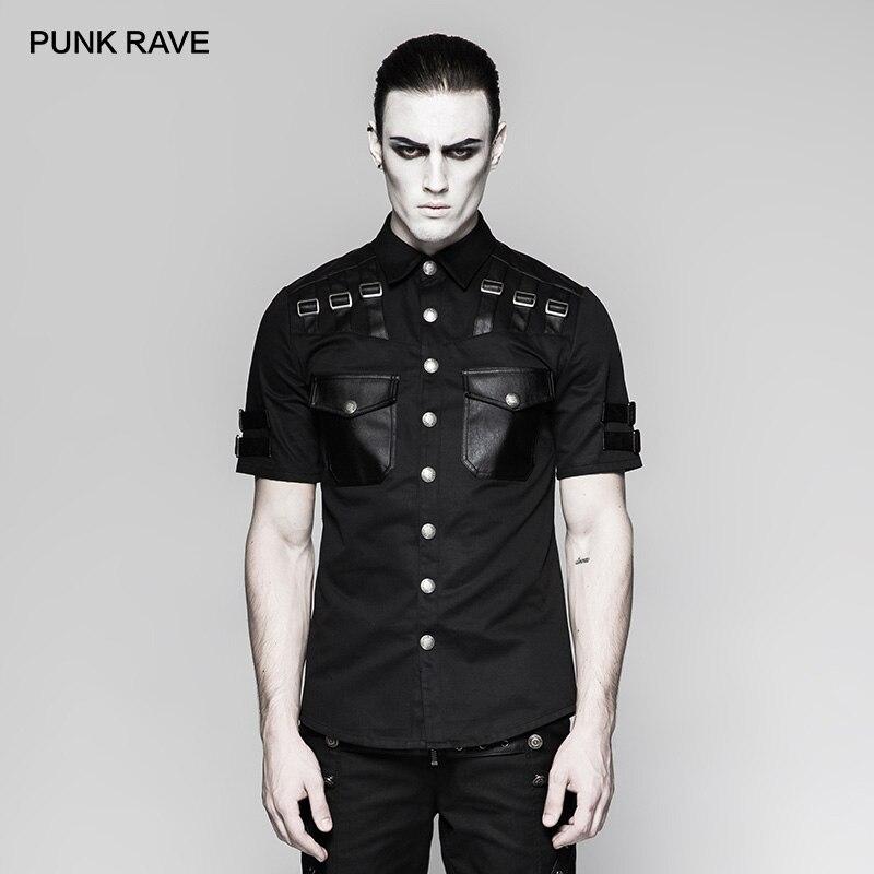 PUNK RAVE hommes beau militaire uniforme à manches courtes chemise Steampunk beau décontracté mince Rivet poche noir hommes haut