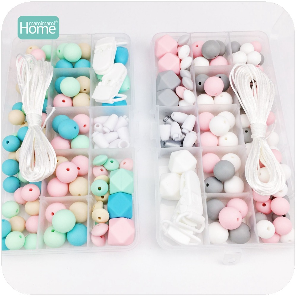 MamimamiHome Baby Toys Accessories 2set Hand Made Pacifier Clip DIY Crafts Nursing Necklace Teething Jewelry Rattle-in Baby Rattles & Mobiles from Toys & Hobbies    1