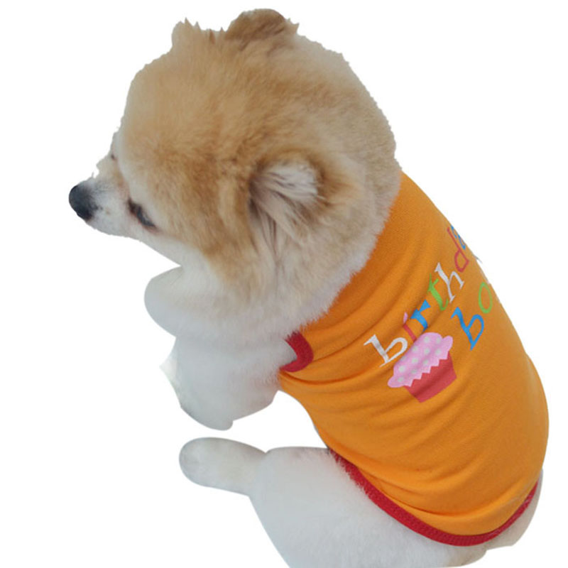 1New Pet Dog Tops Cotton Blend T-Shirt Birthday Girl/Boy Pattern Vest Teddy Clothes 2 Colors