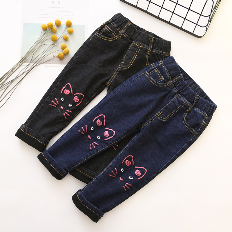Children Velvet Jeans Cartoon Cat Denim Pant Winter Girl Boots Pant Jeans Stretchy Children's Thicker Warm Pencil Pants Trousers new thick warm winter jeans women skinny stretched denim jean pant plus size casual office lady pencil pants cheap clothes xxxxl