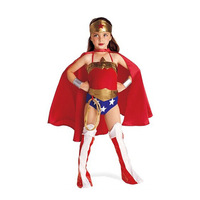 Child Wonder Woman Costume Girl Cosplay Clothing Red Halloween Costume Kids Superhero 6PC Clothes S XL