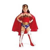 Mulher Maravilha Traje Da Menina da criança Roupas Cosplay Halloween Traje Vermelho Superhero Crianças 6 PC Roupas S-XL Mulher Maravilha 2016