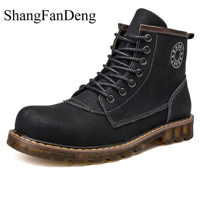 Motorcycle Boots Winter Fur Warm Men Boots Plus Size High Quality Ankle Botas Hombre Genuine Leather Business Safety Men Shoes