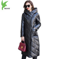 Новые туфли из натуральной кожи пуховая куртка женские зимние натуральной овчины с капюшоном пальто Большие размеры 5XL Женский Тонкий тепл