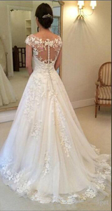 Image 3 - E JUE SHUNG White Vintage Lace Appliques Wedding Dresses 2020 Sheer Back Cap Sleeves Cheap Bridal Dresses vestidos de novia
